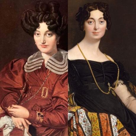 Madame Marcotte Sainte Marie    wearing a lorgnette chain &    Madame Jacques-Louis Leblanc    wearing a locket chain // Jean-Auguste-Dominique Ingres