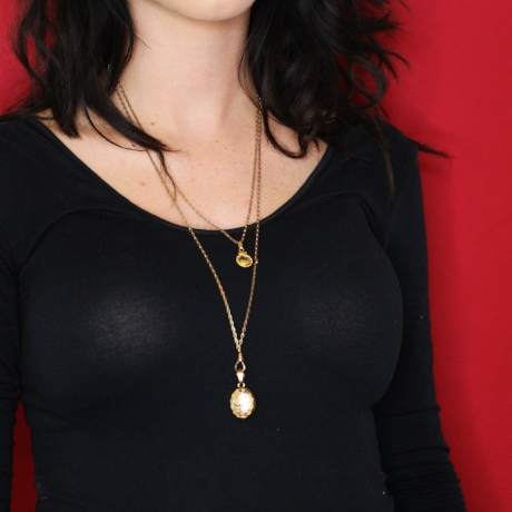 Layered with a locket and a pendant  Chain, locket and pendant coming soon