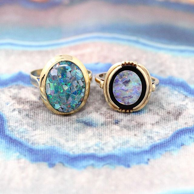 Drool worthy opal rings! The one on the right is now available, and the one on the left is coming soon! 🔮✨☁️ @maejeanvintage
