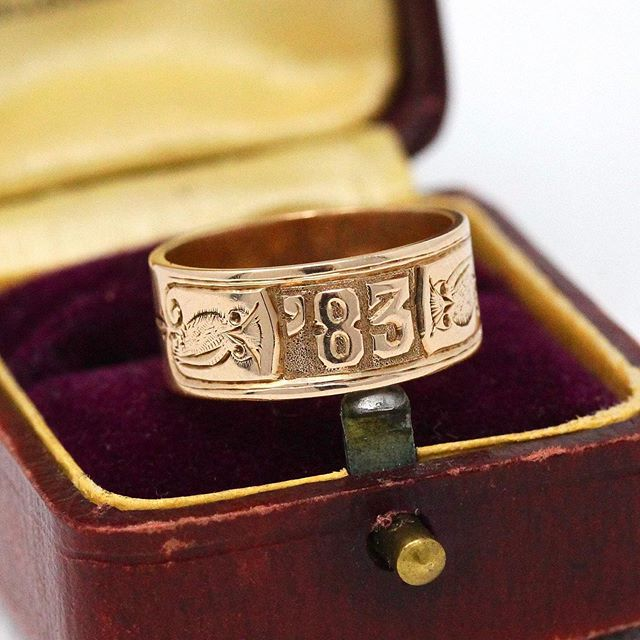 "Extremely rare antique dated '83 Victorian era 14k rose gold cigar band! This unique antique ring is dated '83 on the front of the band, with two sweet owls on either side. The inside of the Victorian ring is engraved with the initials ""A.T.M."" and the Latin words ""Incepimus Non Finivimus"" which can be translated to ""We are beginning, not ending"" in English. Stunning piece of rare dated Victorian Era fine jewelry! We believe this ring may have originally been a bespoke graduation gift."