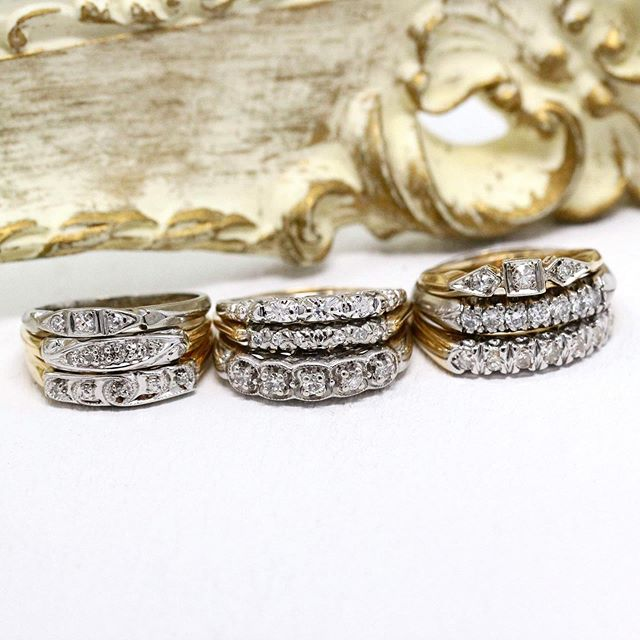 Vintage diamond wedding band stack 💎💍
