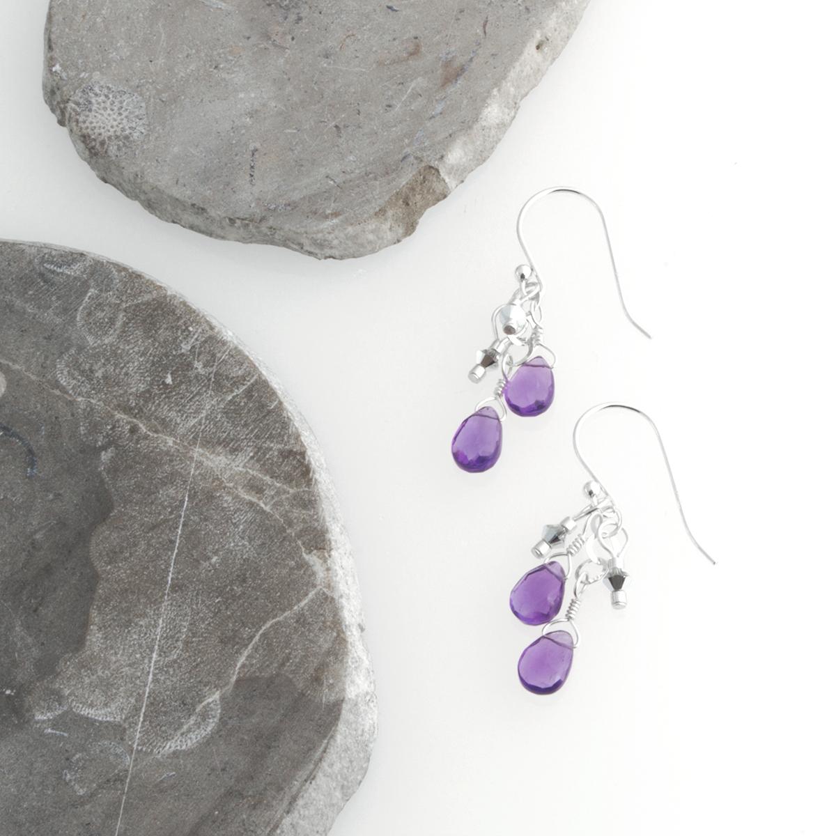 Amy's lovely double drop amethyst earrings.