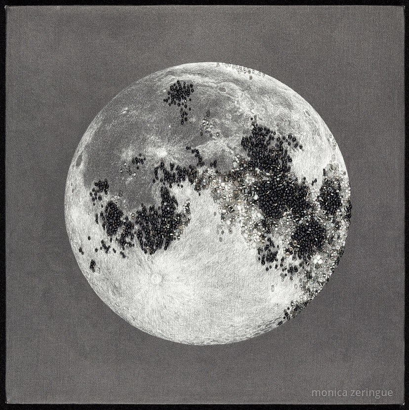 """The Moon Now Rises to Her Absolute Rule   2013,graphite and hand-sewn beads on primed linen, 12"""" x12"""""""