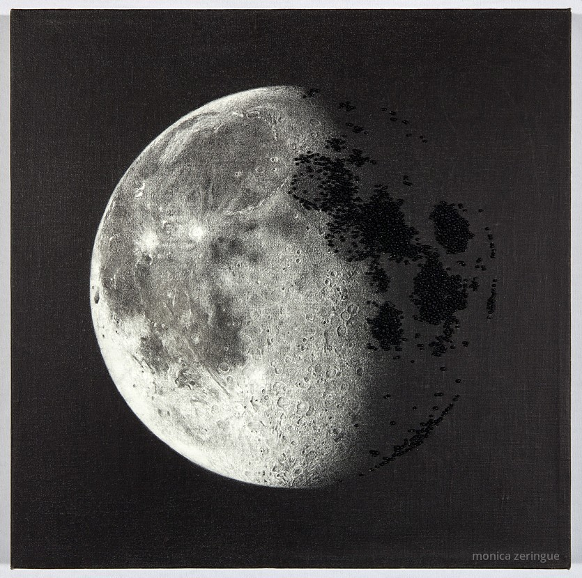 """Moonlight Bends Over Black Silence   2013,graphite and hand-sewn beads on primed linen, 12"""" x12"""""""