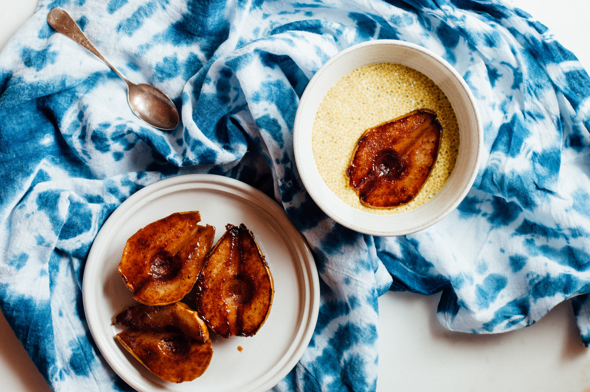 Golden Milk Chia Pudding with Chai Roasted Pears