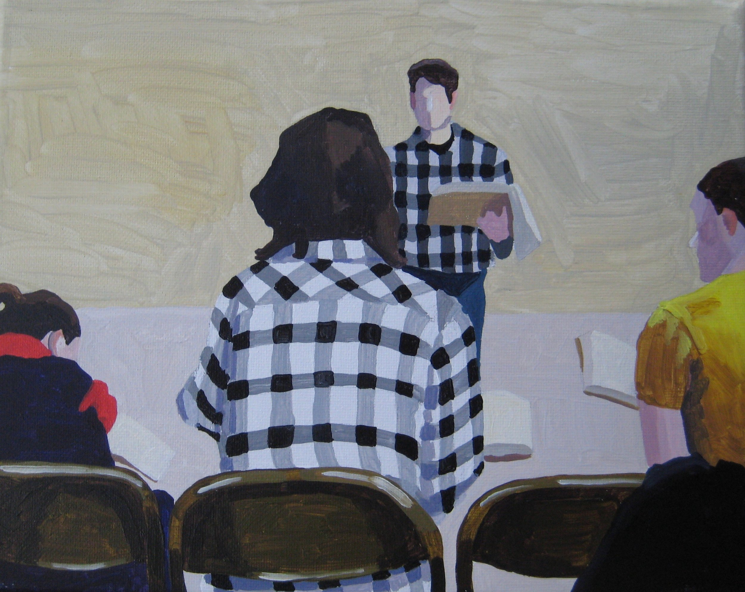 """Shape Note Singers in Plaid, acrylic on canvas, 10""""x8"""""""