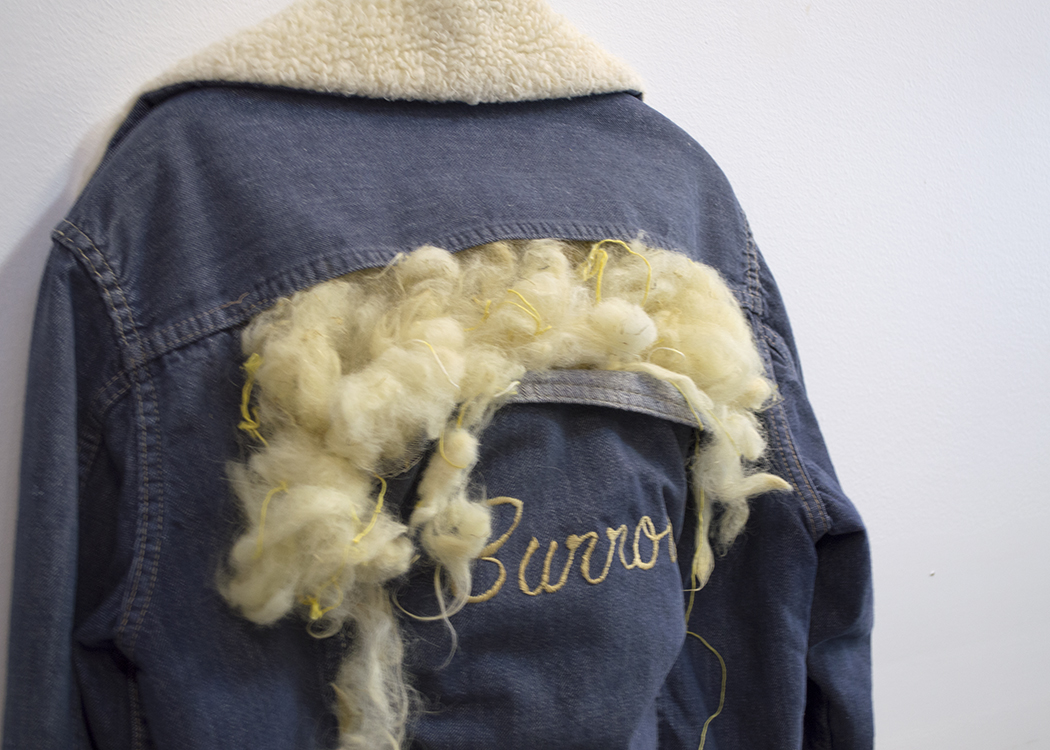 Until Desert Meets the Hills; salvaged jacket, wool dyed with rabbitbrush, embroidery; 2014
