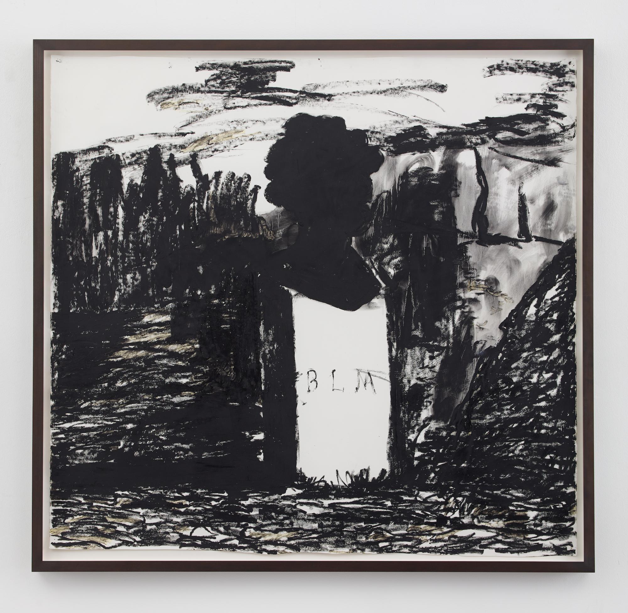 Kara Walker, BLM , 2016. Oil stick on paper, 57.5 x 60.5 inches.