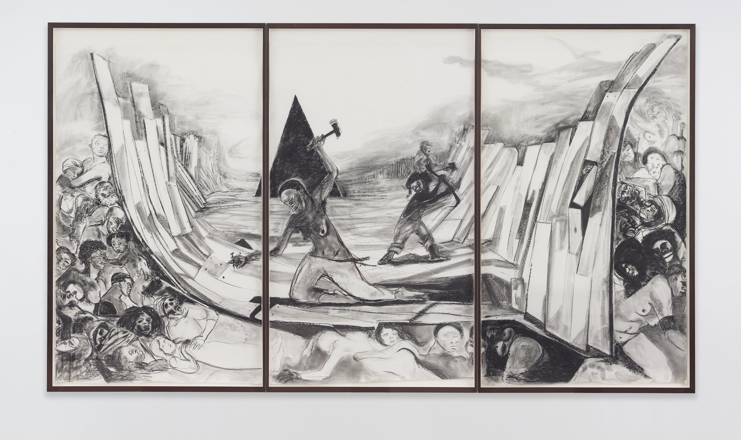 Kara Walker, Securing a Motherland Should Have Been Sufficient , 2016. Graphite lumber marker on paper,104.5 x 180.75 inches.