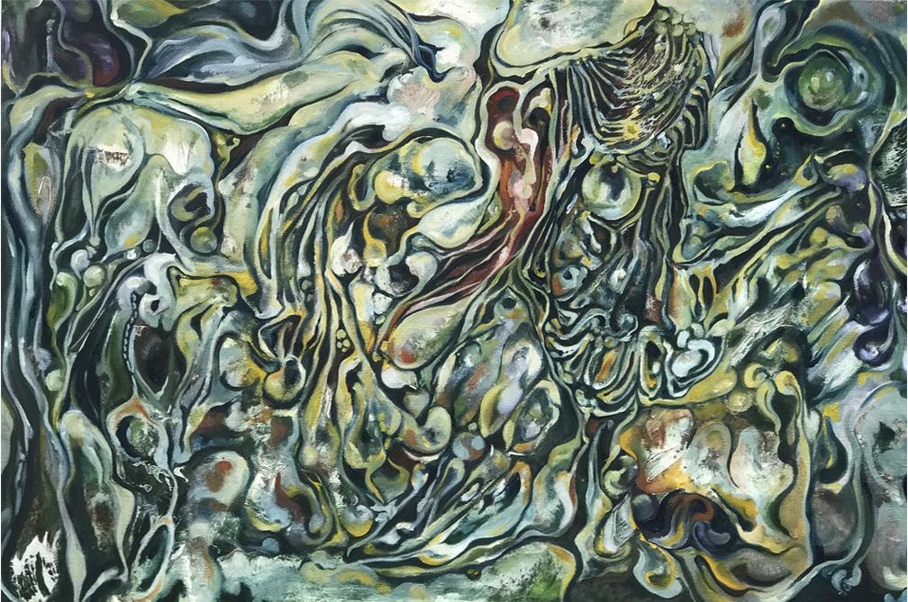 "Univalve , 2017, oil on canvas, 36"" x 24"""