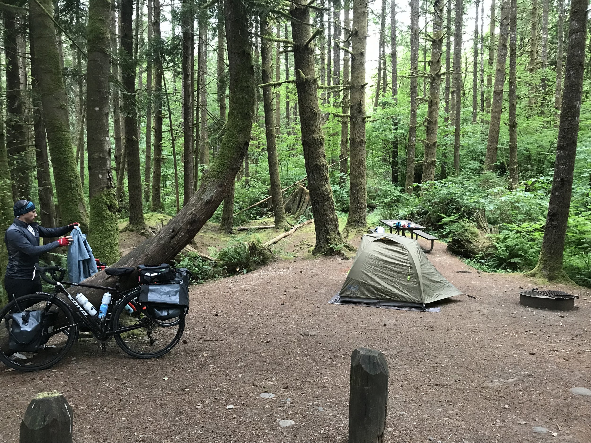 Our rainy little campsite at Lewis and Clark State Park.