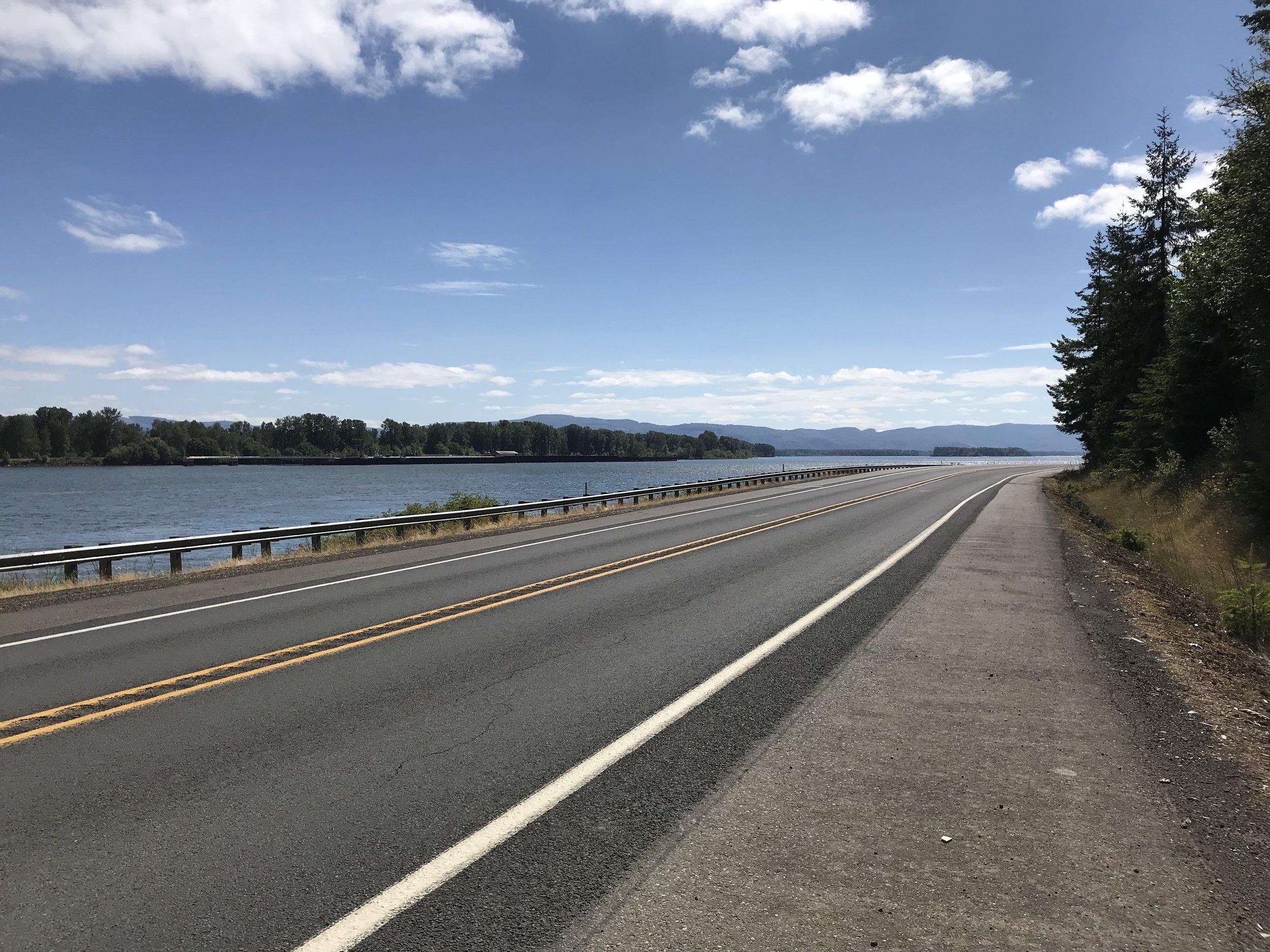 Biking along the Columbia River.