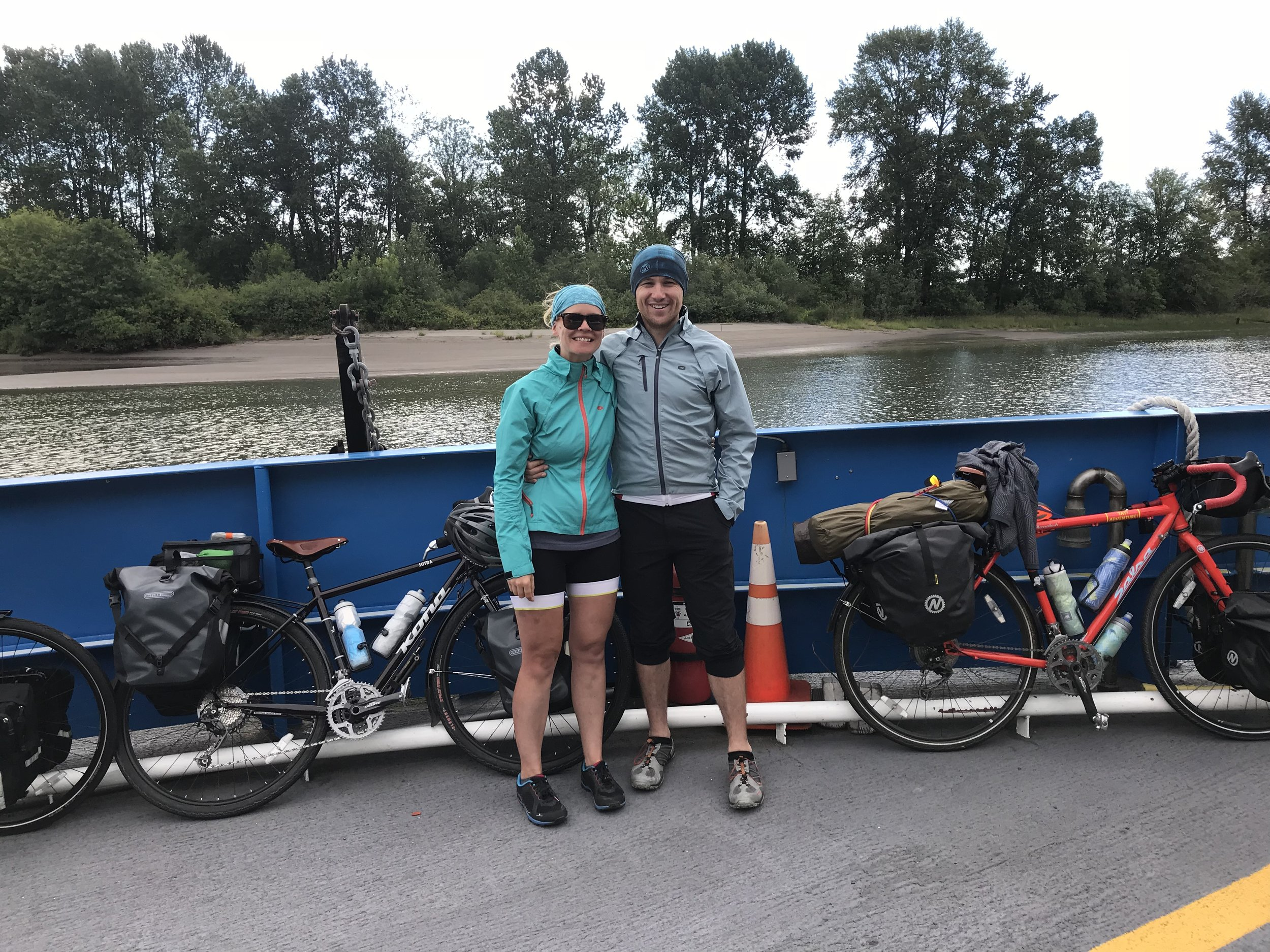 Riding the ferry across the Columbia River.