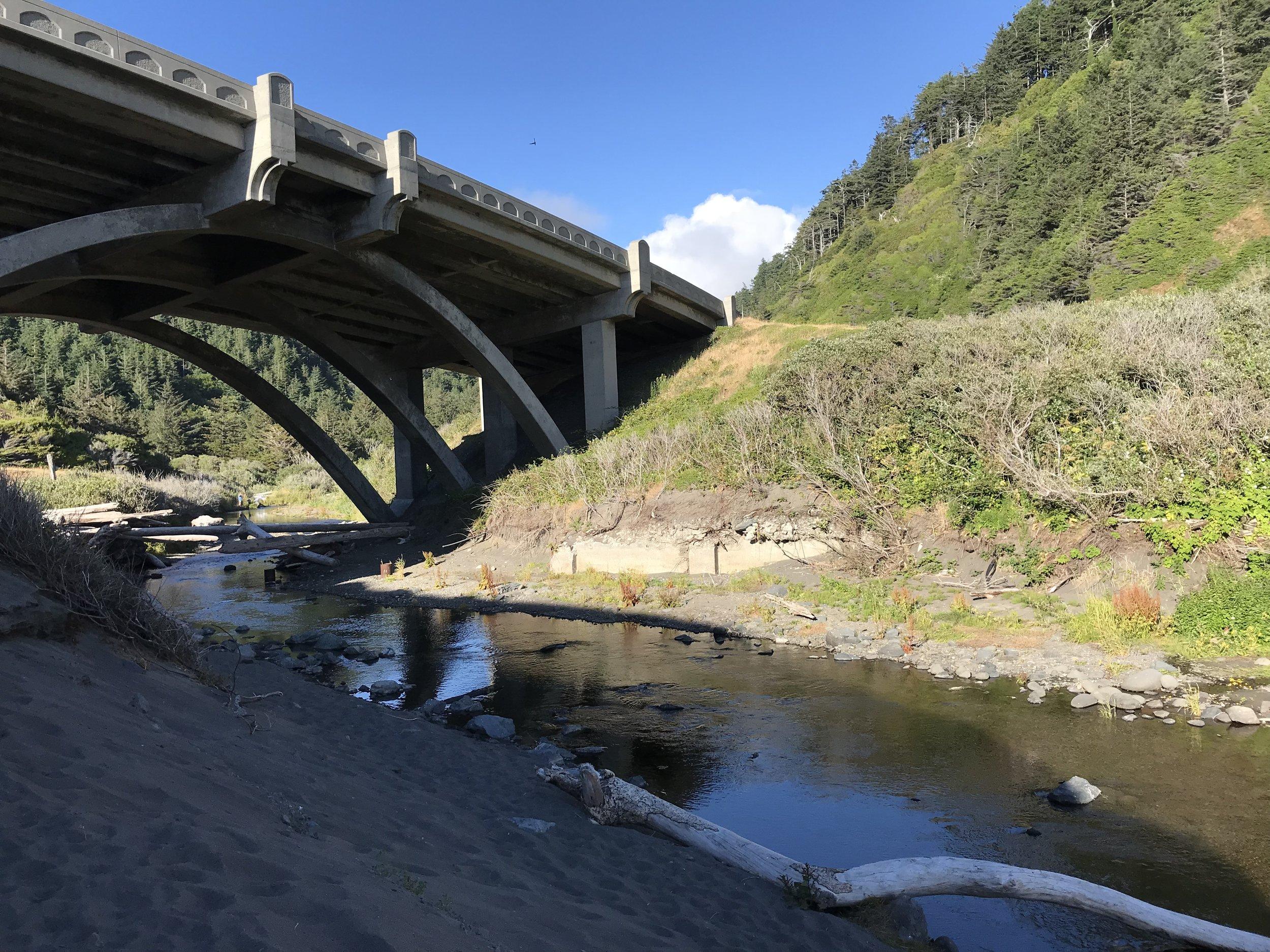 We rode over that bridge! Humbug Mountain again.