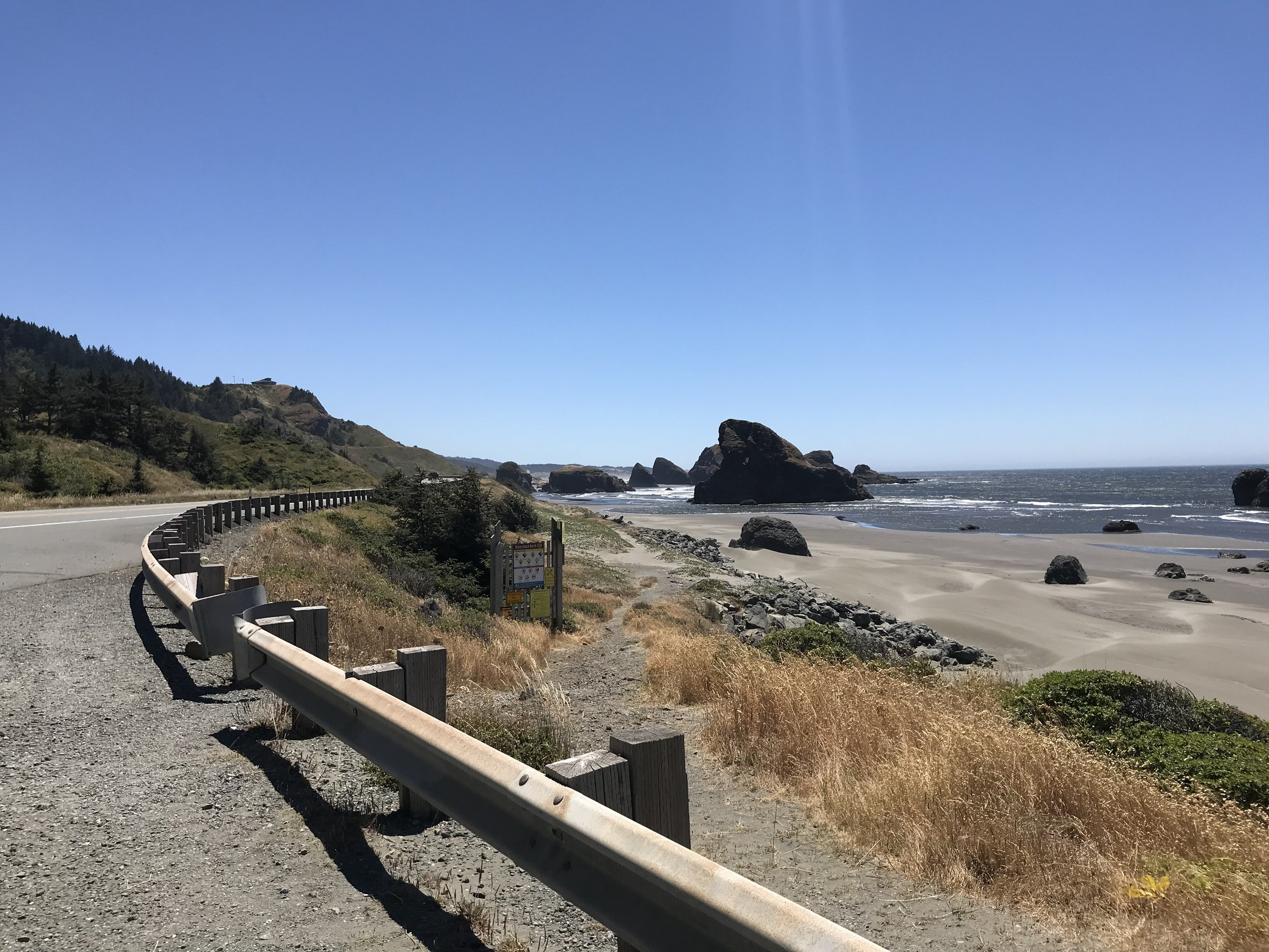 We did the biggest climb of the Oregon coast today just south of Gold Beach. Came down the other side looking at this.