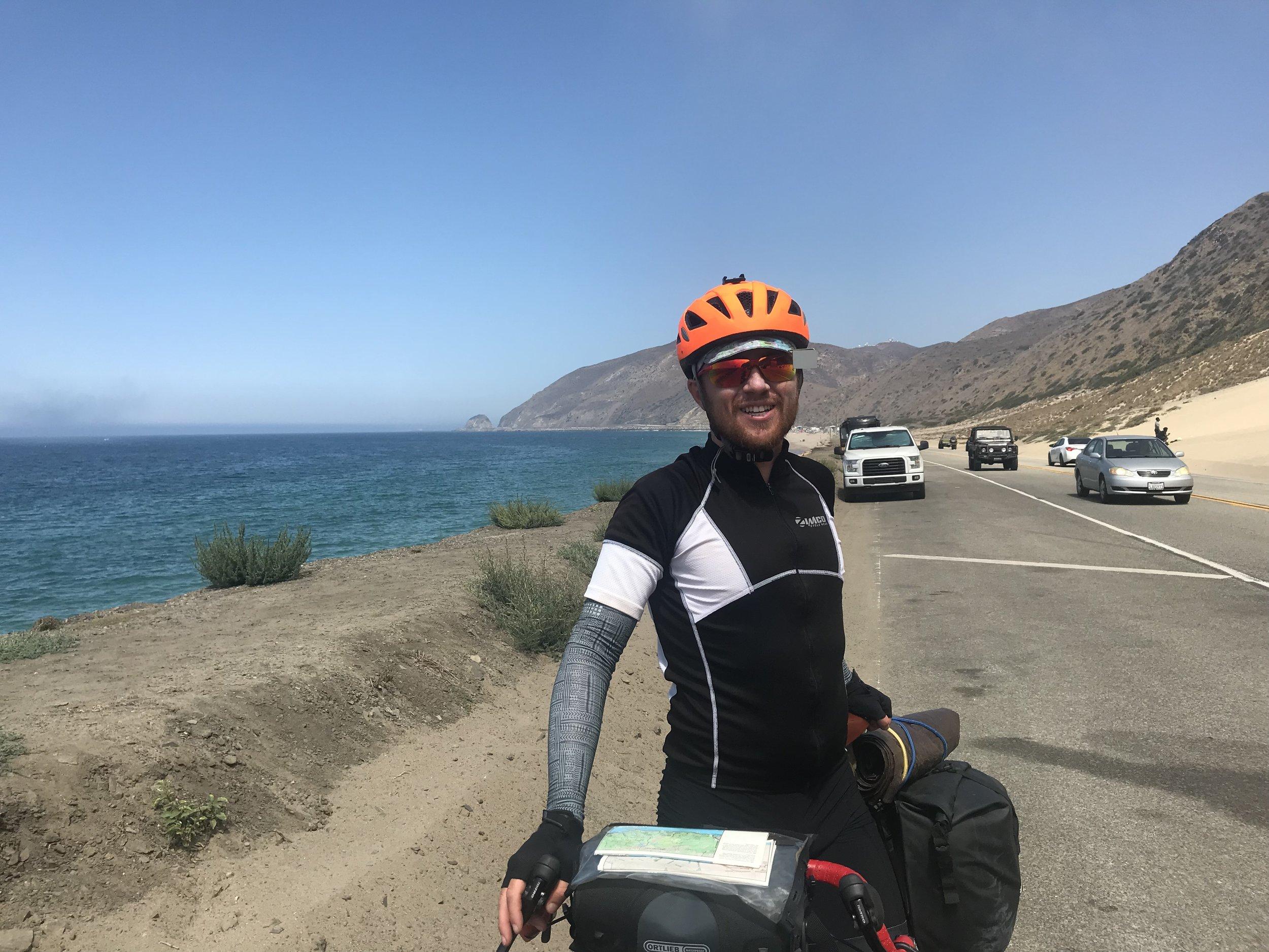 Biking through the Santa Monica Mountains.