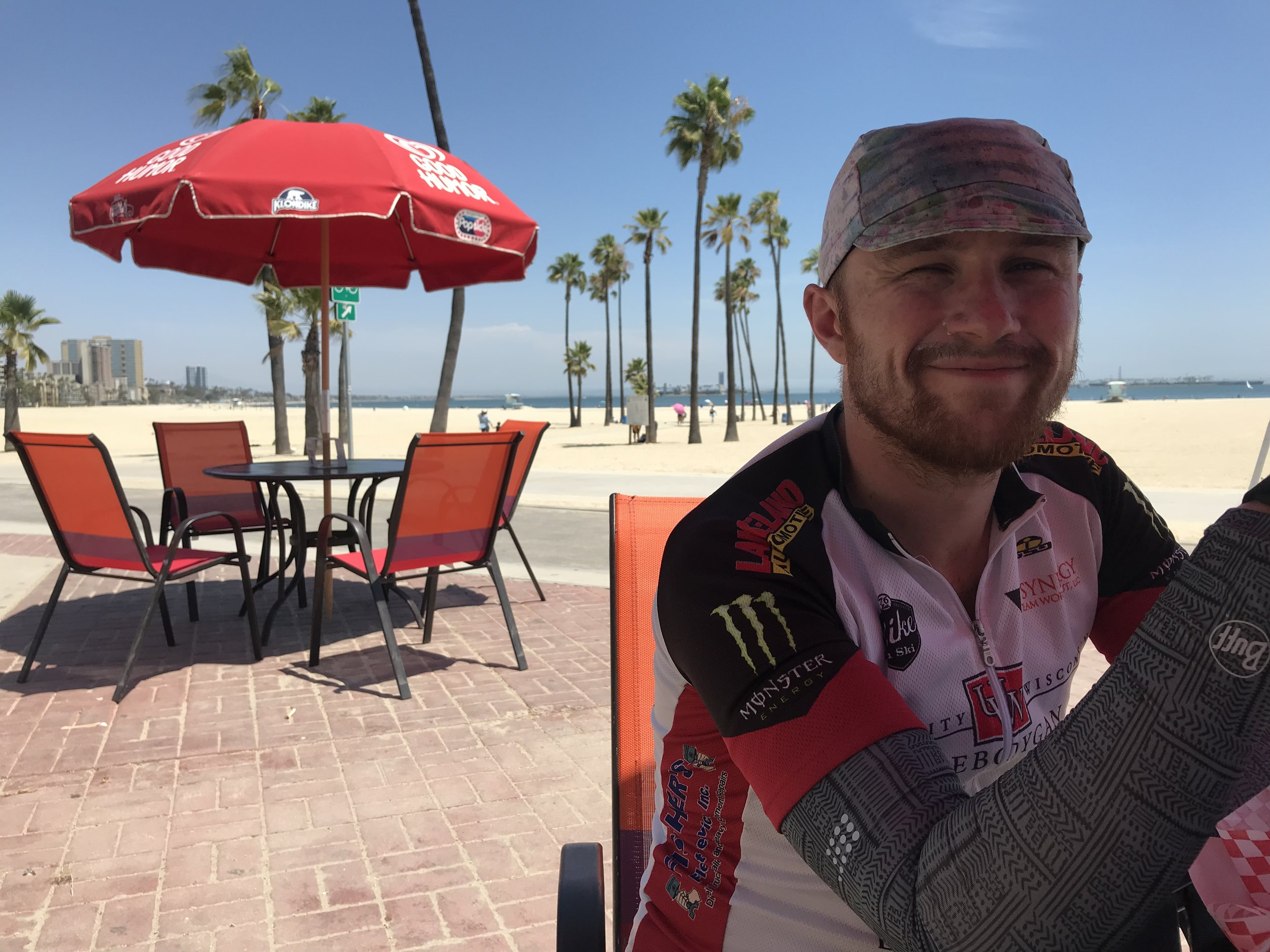 Stopping for a cold drink in Long Beach.