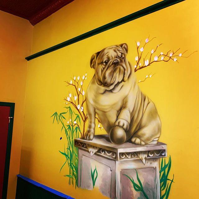 Mural-ing. #airbrushonwall #drakebulldog