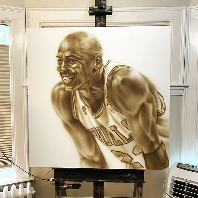 #WIB #MJ 🐐  #airbrushoncanvas #iwataairbrush #goldenflow #studioshot