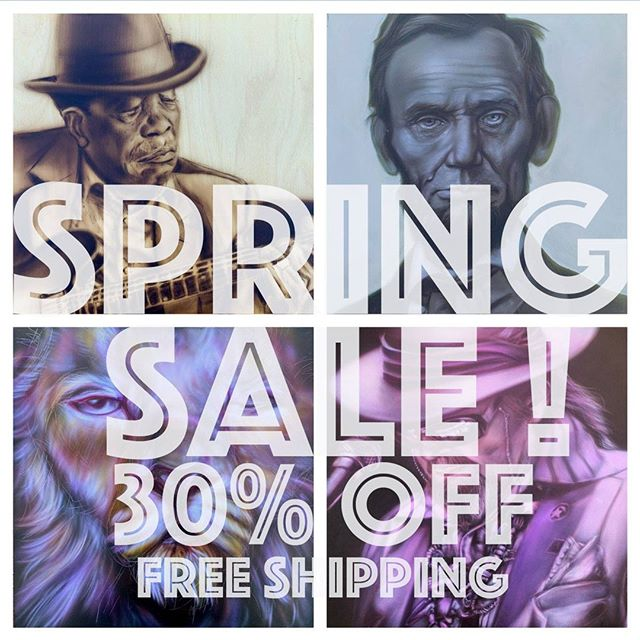 Announcing:  SPRING SALE, 30% off all paintings online.  Use Code: SPRING plus Free Shipping.  Over 50 works of original airbrush paintings on canvas or wood.  https://squareup.com/market/palmer-square-studios/