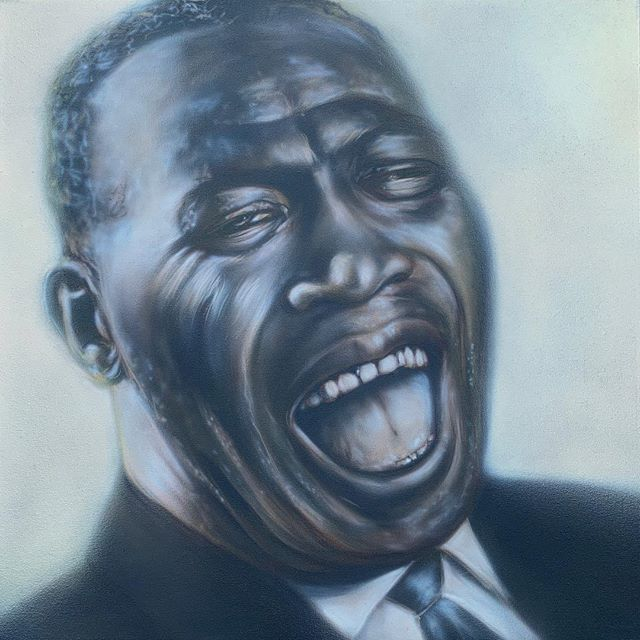 'Howlin' Wolf' 30x30 acrylic on canvas. Available via link in profile. #chicagoblues #thewolf #howlinwolf #airbrushart