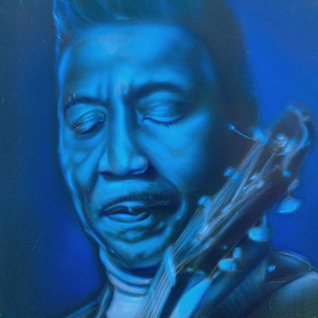 'Muddy Waters' (younger) 20x20 acrylic on canvas. Available via link in profile. #chicago #chicagoblues #airbrushart #muddywaters