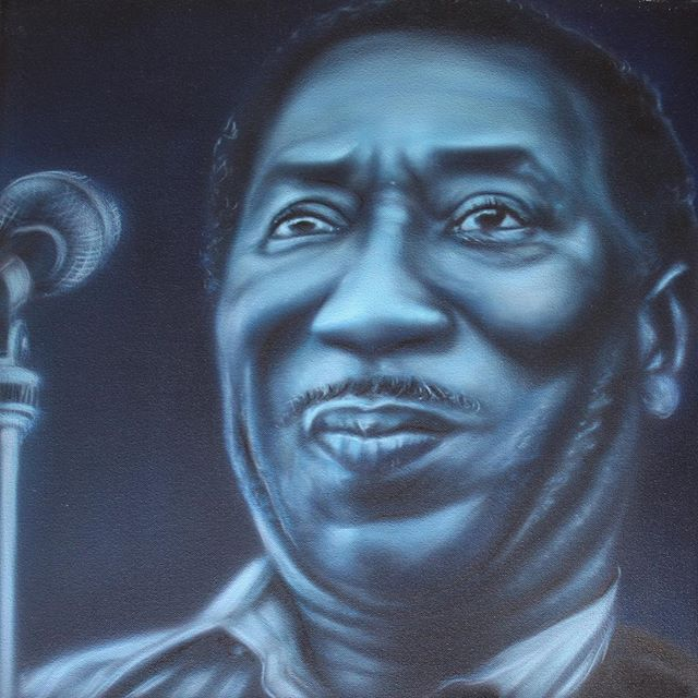 'Muddy Waters' 20x20 acrylic on canvas. Available via link in profile. #chicago #chicagoblues #airbrushart #muddywaters