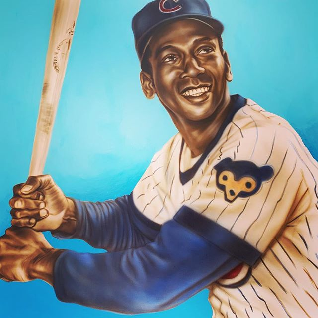 "'Ernie Banks, Mr. Cub' 36""x36"" acrylic airbrush on canvas. SOLD (but available this summer for charity) #gocubsgo #mrcub #chicago #dacubs #chicagocubs #airbrushfineart #iwataairbrush #goldenhighflow"