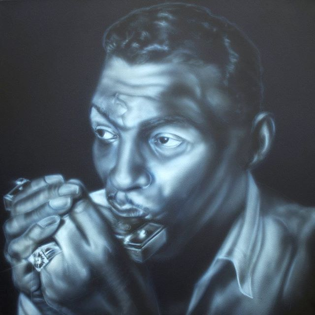 Happy Birthday 🎈#littlewalter, legendary Chicago Blues harp man. May 1, 1930 Louisiana - February 15, 1968 Chicago. 30x30 acrylic on canvas, available. (Link in bio) #chicagoblues #chicagobluesman #bluesharp #littlewalter #airbrushart