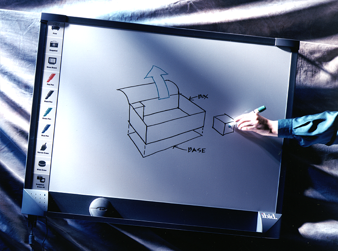 """IBID™<a href=""""/ibid-electronic-whiteboard""""></a><strong>Research - Branding - Product Design - UI- Mechanical Engineering - Prototypes - Production Liaison</strong>"""