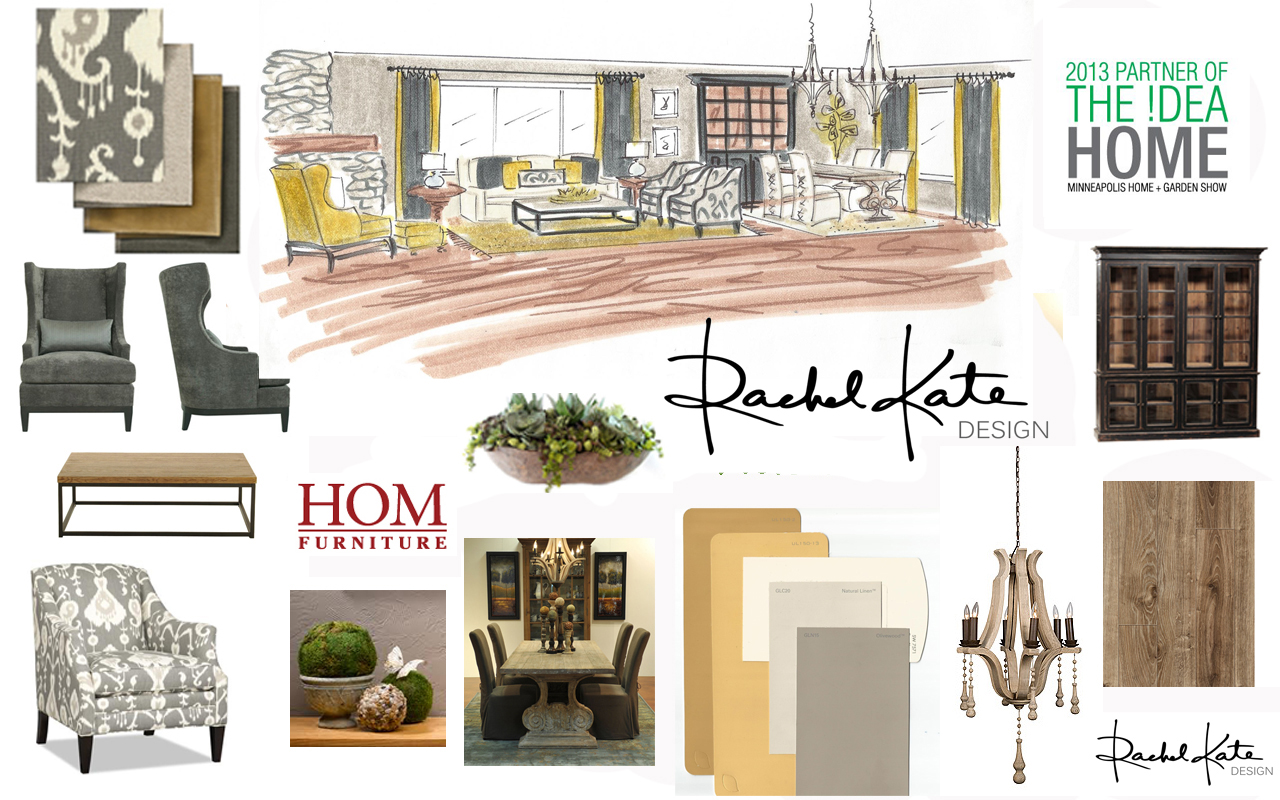 Rendering and Idea Board for the 2013 Idea Home Rachel Kate Design