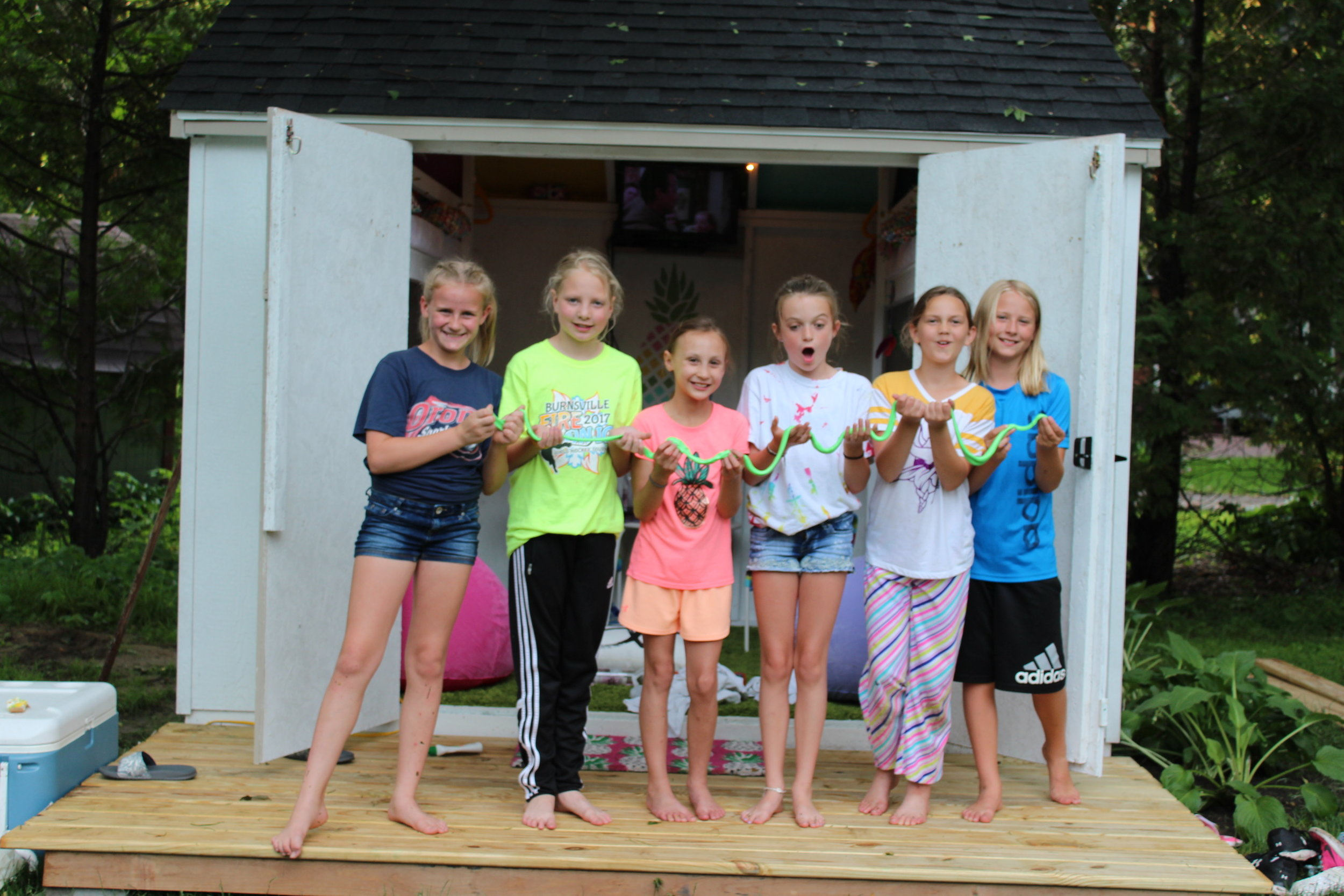 The girls making SLIME for breakfast - they all spent the night in the clubhouse. First Day of Summer Party!!!