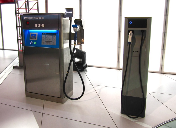 A DC Fast Charger (left) and Level 2 pedestal charger (right) from Eaton Corporation.