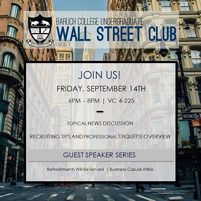 Hello everyone! Join us this Friday, September 14th from 6PM-8PM in NVC 4-225 for our second meeting of the semester. We look forward to seeing you all there! #BaruchWSC