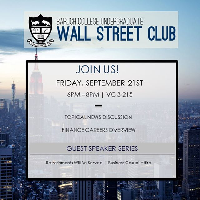Hello everyone! Join us this Friday, September 21st from 6PM-8PM in NVC 3-125 for our third meeting of the semester. We look forward to seeing you all there! #BaruchWSC