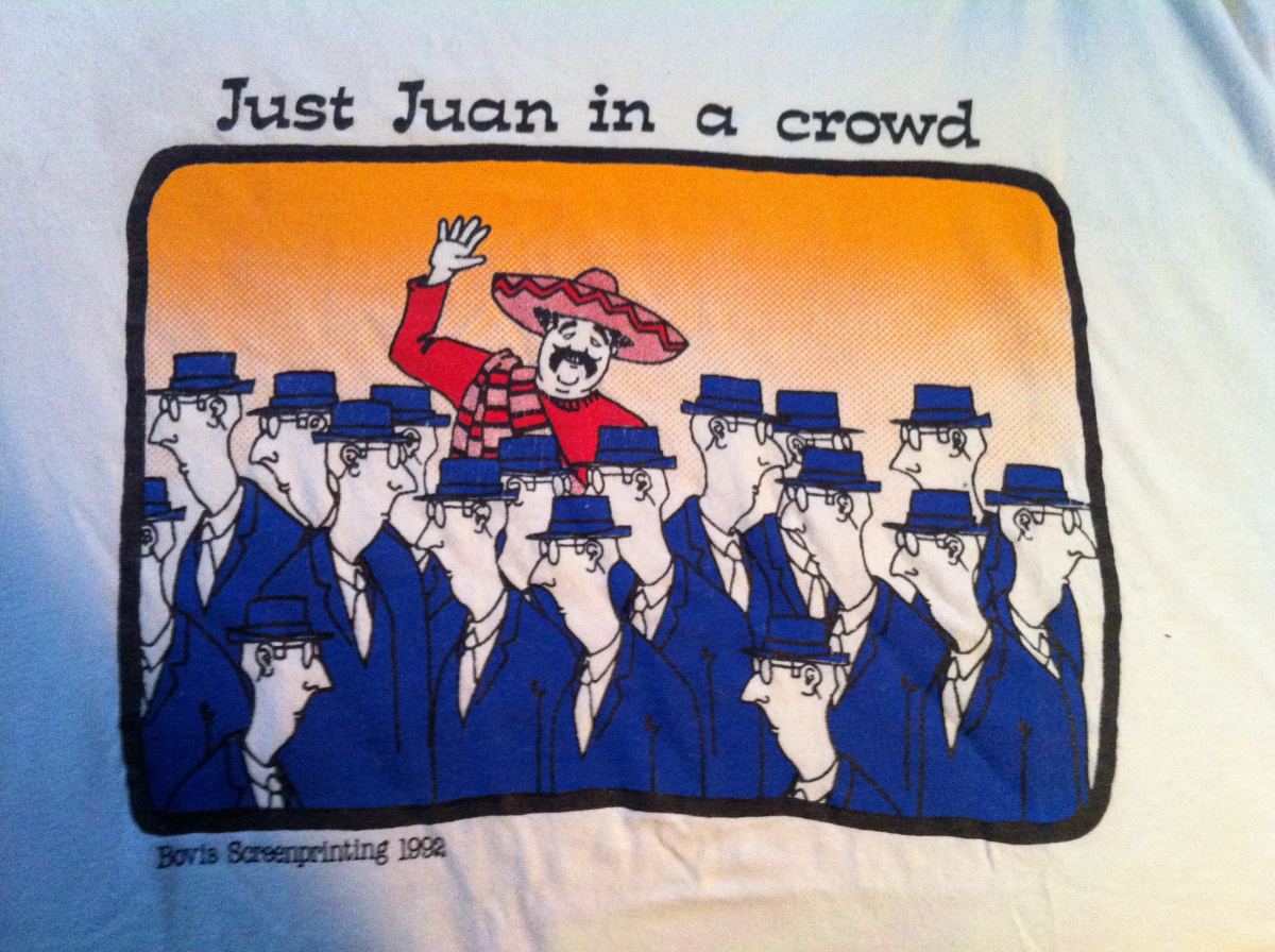 A t-shirt given to the writer by his late father, Juan.