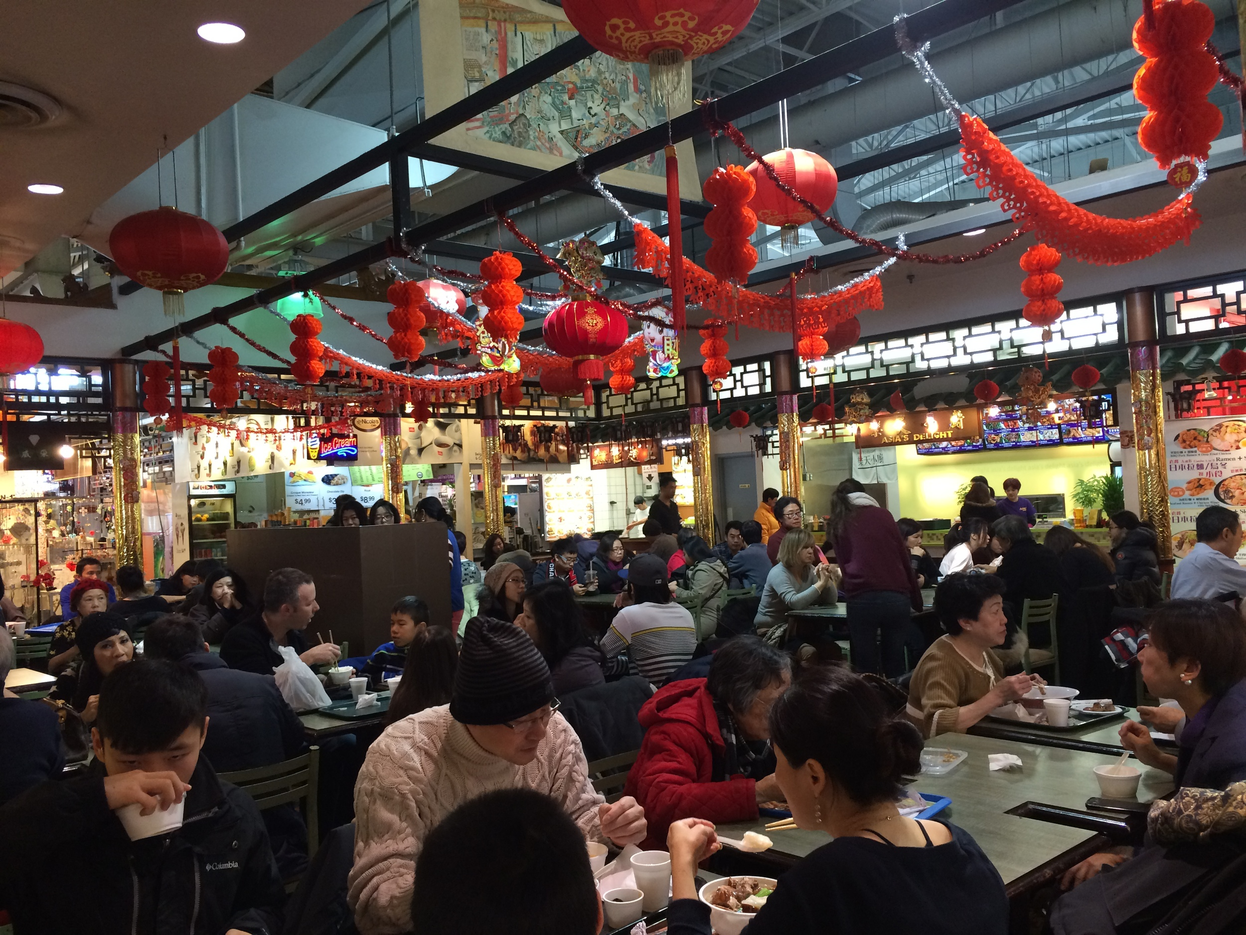 The busy upstairs food court at Pacific Mall