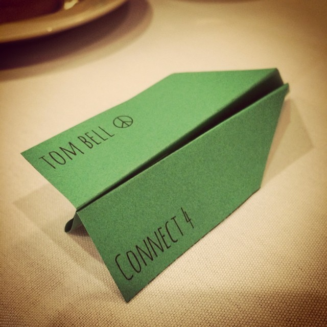 We are loving Matt and Maura's whimsical wedding! Right down to the paper airplane place cards!