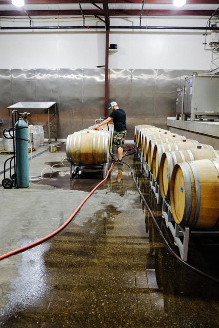 Racking barrels.