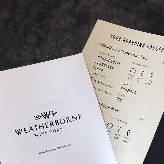 Join our wine club and get boarding passes for a tasting adventure. This month we are shipping 2017 Mendocino Ridge Pinot Noir side-by-side with 2016 Santa Rita Hills La Encantada Vineyard. #pinotnoir #laencantadavineyard