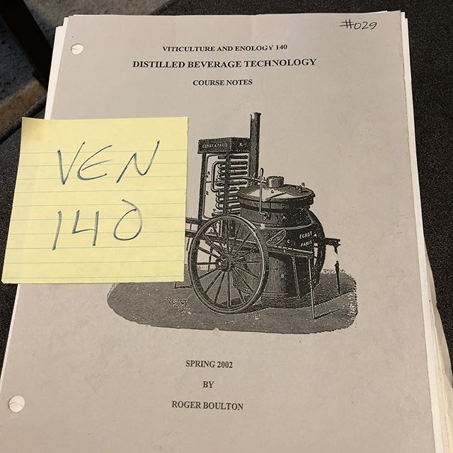 Hitting the books for a new project. #distillation #ucdavis #drboulton