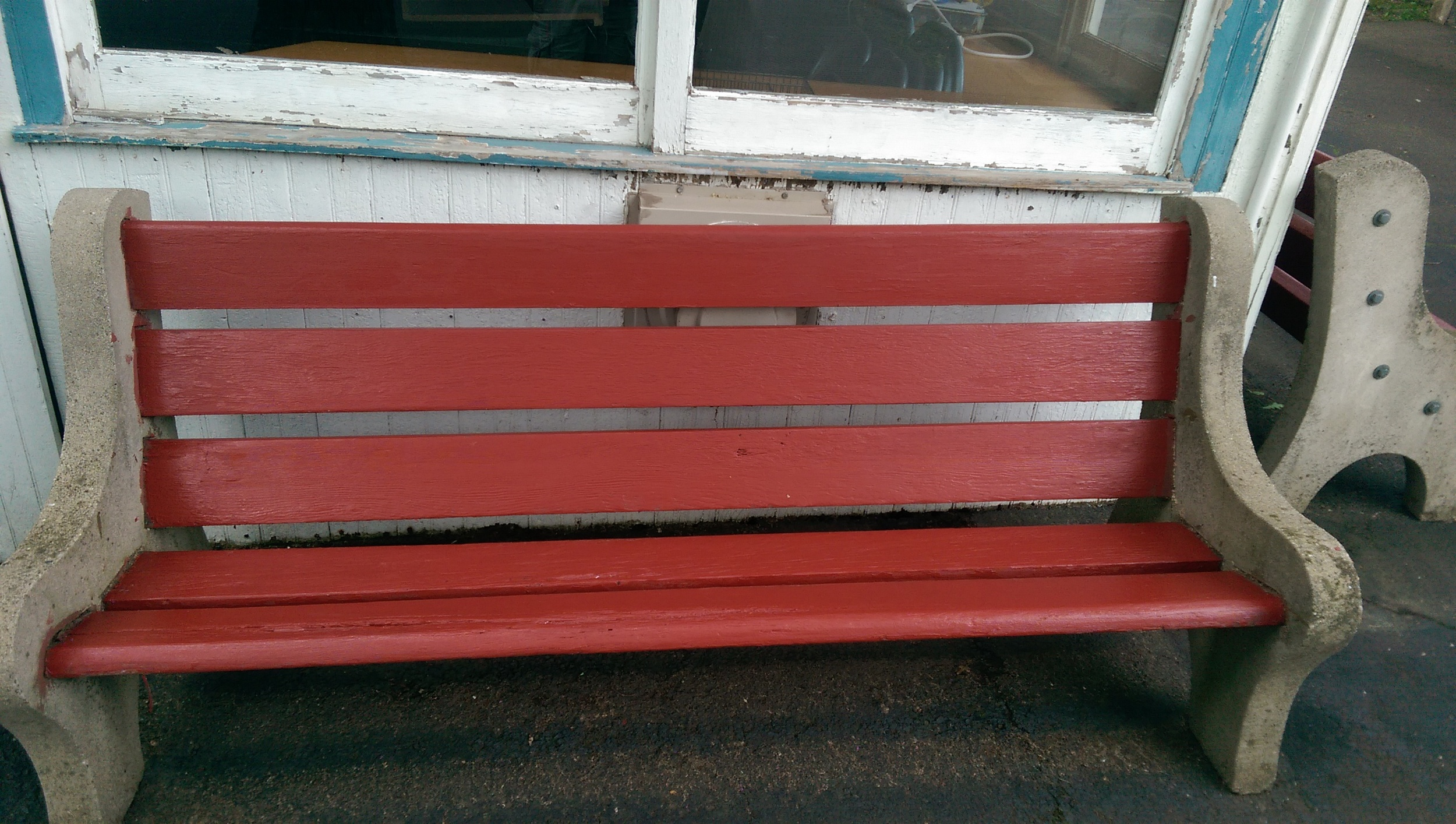 Newly repainted benches in the Snack Stand area!