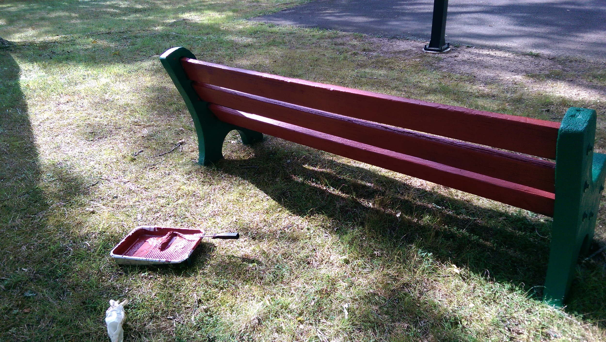 Newly repainted benches are looking are looking pretty great!