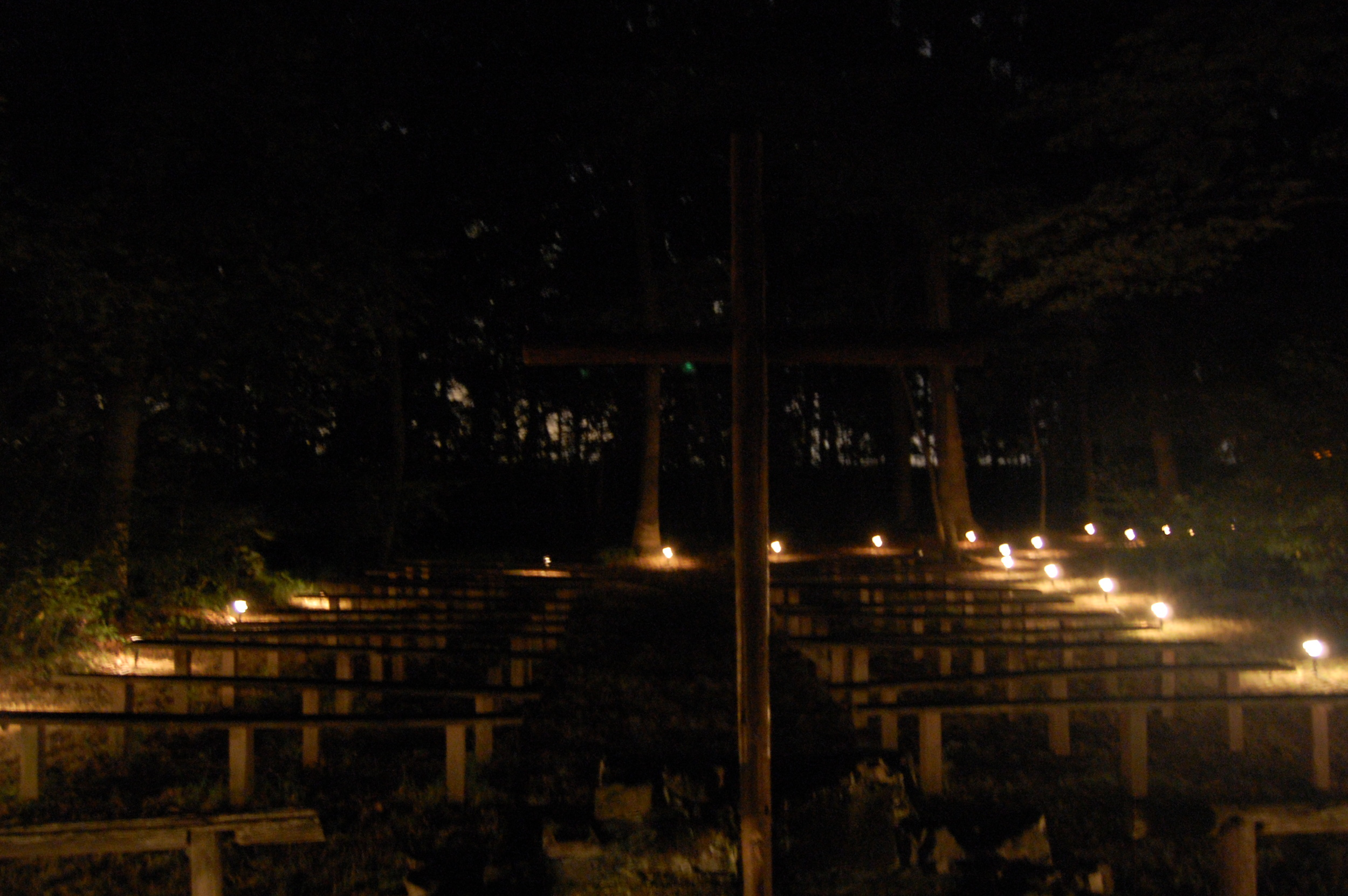 The Chapel in the Woods, all decked out for the Night of Silence which takes place during our Youth Camp.