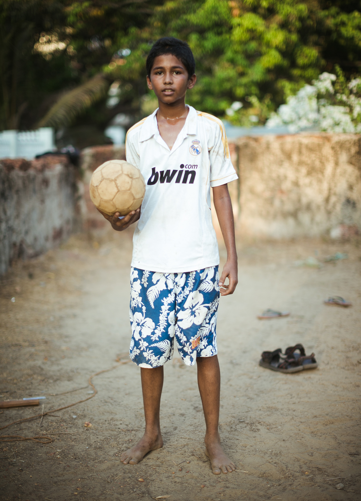 Kids playing football in Goa, India.