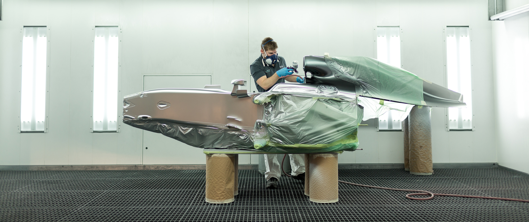 A portrait and locations shoot for Mercedes F1 to show the range, breadth and depth of careers in F1 at their factory in Brackley.