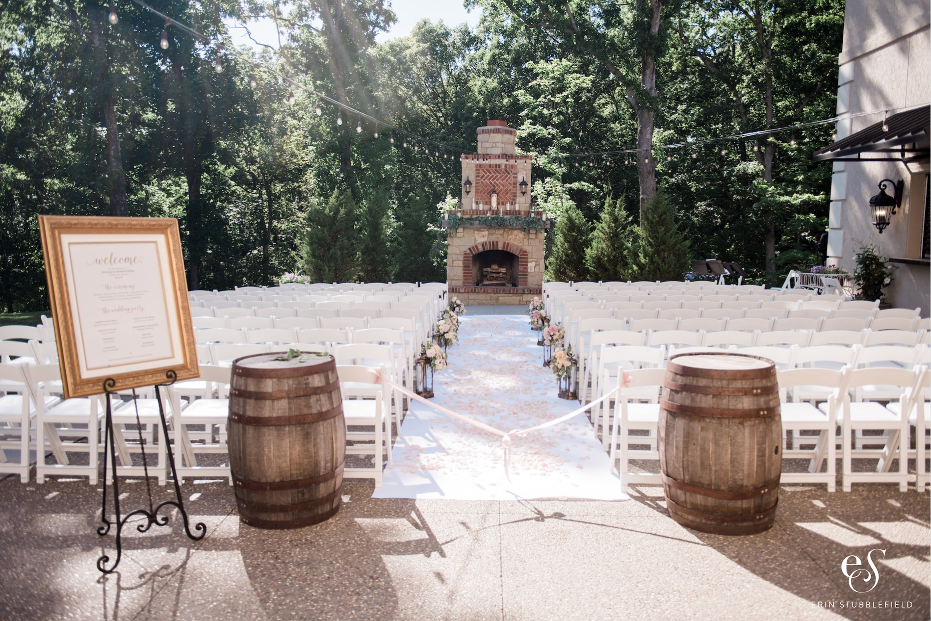 facing the fireplace - Our freestanding wood burning fireplace adds such a unique and romantic element to your ceremony. The bistro lights above welcome your guests to a setting which feels so intimate, yet can fit ALL of your guests! Approx. total chairs on patio: 230 with 10 rows