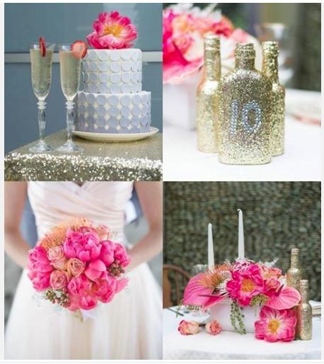 tablescape, sparkles, handmade glittery bottles, and vintage chairs by Sparkles and Vintage