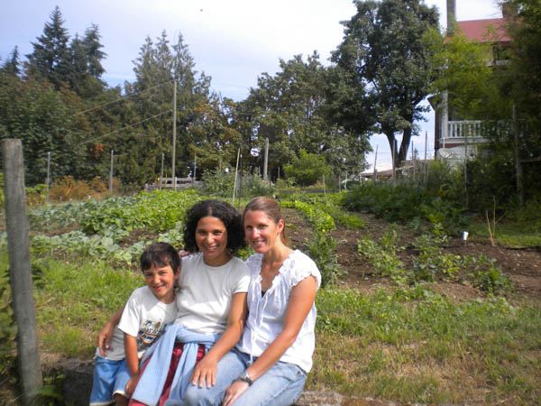 In the garden with fellow gardener, Valdilia, and her son Victor. This shows just one-quarter of the entire garden we maintained for the farm-stay chef.