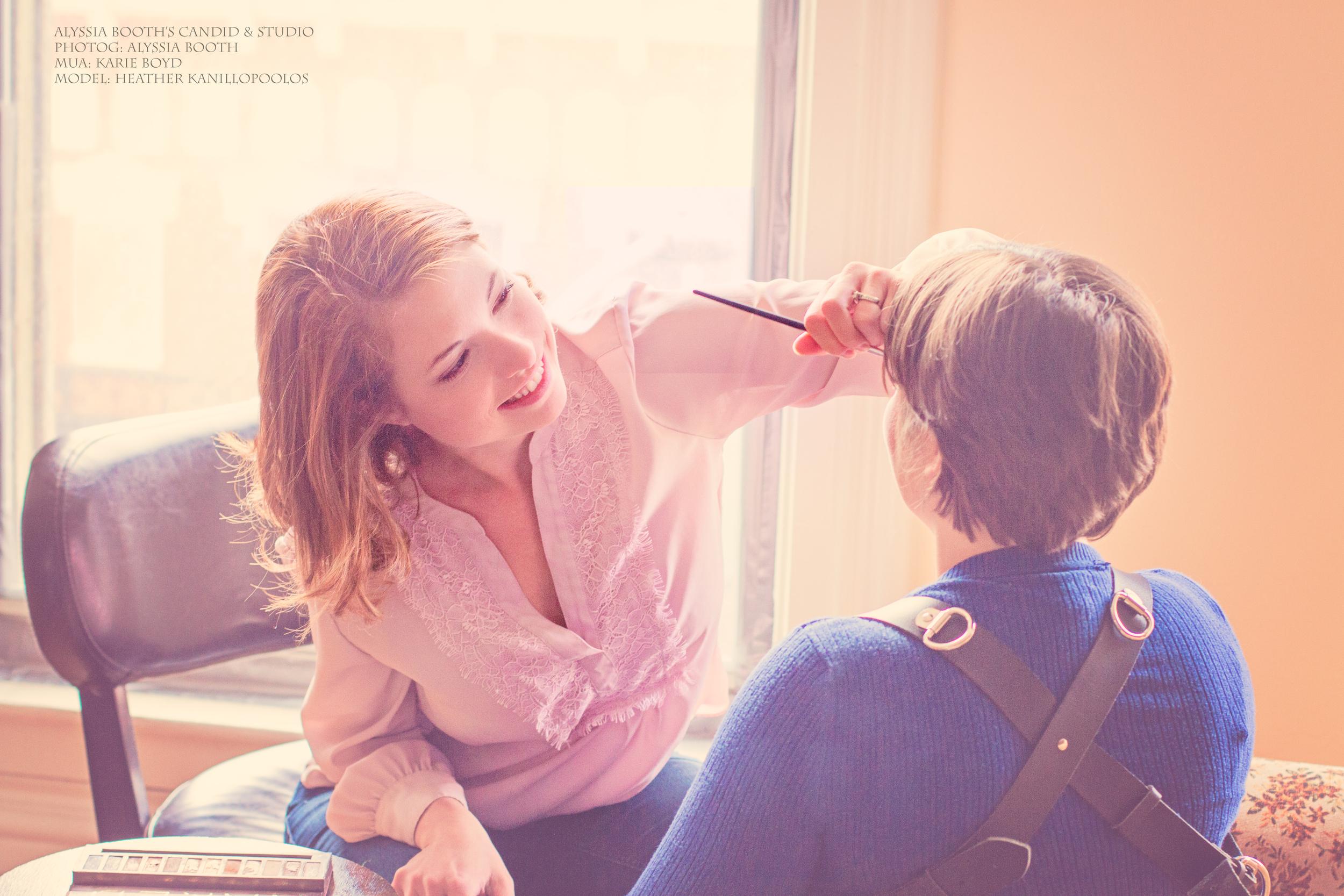 Karie doing Heather's makeup.